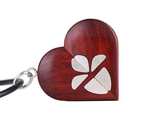 LMWood Medallón de madera hecho a mano para regalo de cumpleaños, collar de la ilusionista, medallón con forma de corazón, regalo para ella