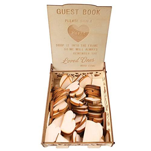 #N/A Ristiege Holzhochzeit Unterschrift Herz Box Gästebuch Aufbewahrungsbox Rustikales Dekor Personalisiertes Geschenk
