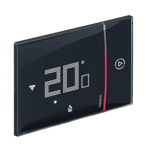 Bticino Termostato conectado Smarther2 with Netatmo de Legrand en color negro, control de temperatura del hogar en remoto e instalación 2 hilos de empotrar