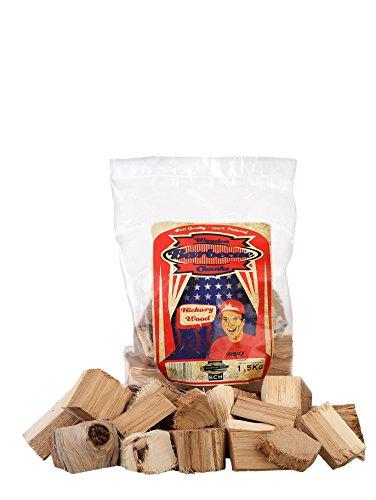 Axtschlag Räucherklötze Hickory, 1500 g XXL Packung sortenreine faustgroße Wood Chunks zum Smoken und Räuchern über längere Zeit, für alle Grills geeignet