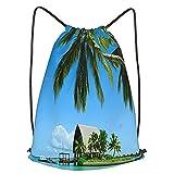 ZHIMI Mochila Con Cordones Unisex,Hermosa isla de luna de miel y resort de verano de Maldivas,Bolso con Cordón Impermeable para Nadar/Surfear/Viajar/Hacer Senderismo/Yoga/Deportes