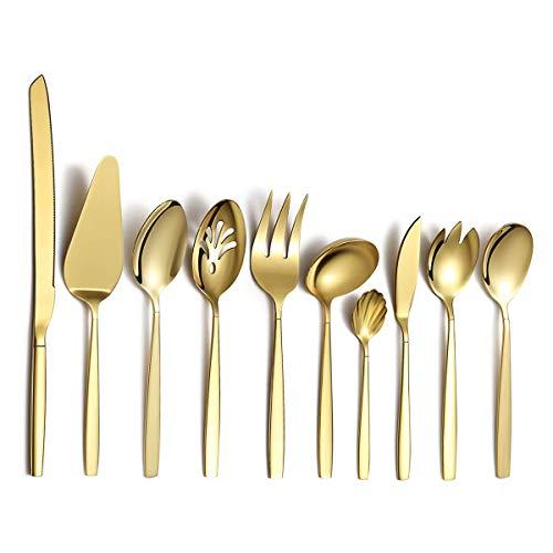 Berglander Gold Besteck Servierset 10 Stück, Edelstahl Besteck Servierset mit Goldtitanbeschichtung, Servierlöffel, Silber Serviergerät, Rostschutz (10 Stück)