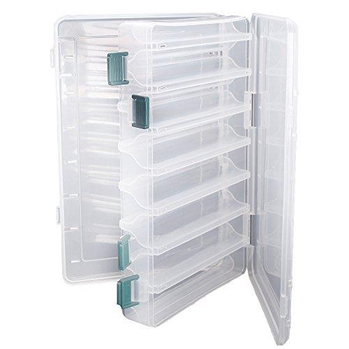 TOPIND Double Face Pêche Leurres Boîte Transparent En Plastique Visible De Pêche En Plastique Crochets Boîtes Organisateur 14 Compartiments avec Drain Trou Accessoires De Pêche