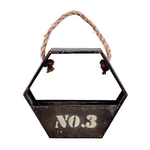 TCWDX Estantes flotantes, estantes de Pared Estante Flotante Estante de Pared Estante de Pared de Estilo Vintage Forma de Cesta Hexagonal Creativa con Cuerda de cáñamo Hierro Material de Metal SOP