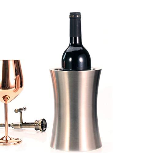 Cubitera para bebidas de botella de vino/Champagne cepillado de pared doble de acero inoxidable, diseño de cintura, elegante y creativo, sirve para 1,Silver