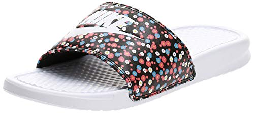Nike Wmns Benassi JDI Print, Zapatillas de Running Mujer, Blanco, Negro, mágico, 36.5 EU