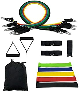 Perfect Set of Resistance Bands Exercise Bands 5pcs, 11pcs,16pcs Including Door Anchor ankle Straps Exercise Chart and Res...