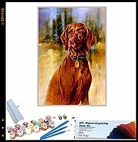 数字油絵 かわいい犬の動物 大人用 初心者用 大人 子供 アートクラフト 自宅 壁 装飾 40x50cmフレームレス