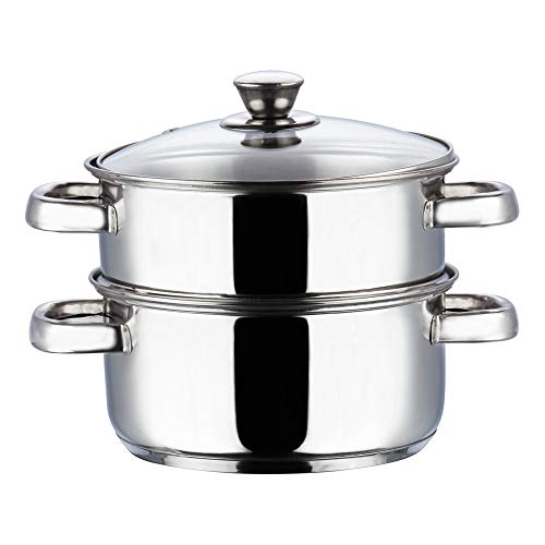 Vinod Stainless Steel 2 Tier Steamer with Glass Lid- 18cm (Induction Friendly)