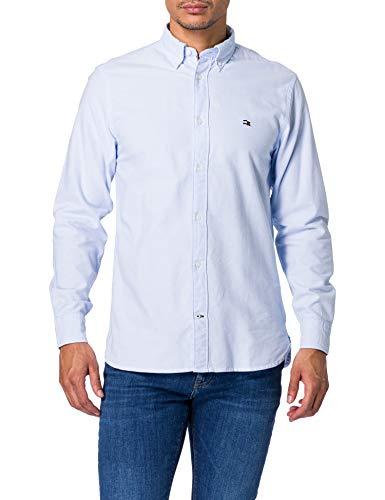 Tommy Hilfiger Classic Oxford Shirt Camisa, Azul Tranquilo, L para Hombre