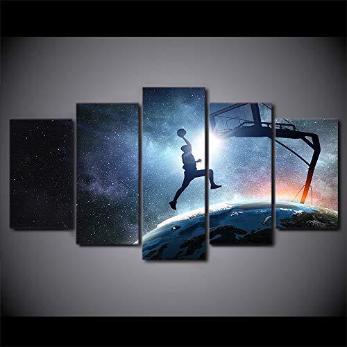 Yuanyuan Art Wall Painting 5 Panel Poster Applikationen Segeltuch Kreatives blaues Plakat des Basketballs Home Decor Kunstwerk Pictures Modulare Moderne Wohnzimmer HD Gedruckt ohne Rahmen150X100CM