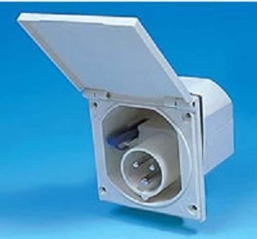 Caravan inbouwmontage 240 V 3-pins stekker inlaat box wit - po113 W