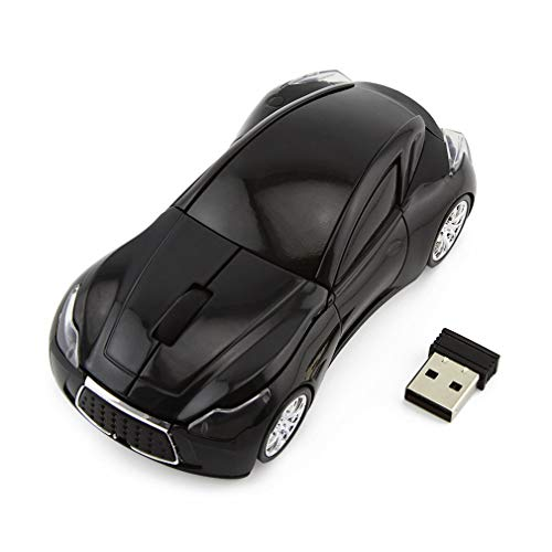 Sport Car Shape Mouse 2.4GHz Wireless Optical Gaming Mice 3 Buttons DPI 1600 Mouse for PC Laptop Computer (Black)