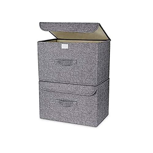 qiuqiu Cajas De Almacenamiento con Tapa, Cestas De Almacenamiento Plegables con Tapa Y Asas para Estantes De Armario