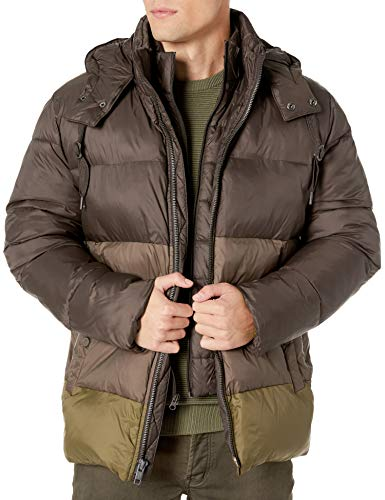 Marc New York by Andrew Marc Men's Dovers Mid Length Down Jacket with Removable Hood, Olive, Medium