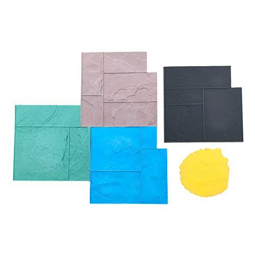 Ashler Notched Slate Concrete Stamp Set by Walttools | Decorative Tile Pattern Polyurethane Texturing Mats, Sturdy, Realistic Detail - 5 piece (Series 2)