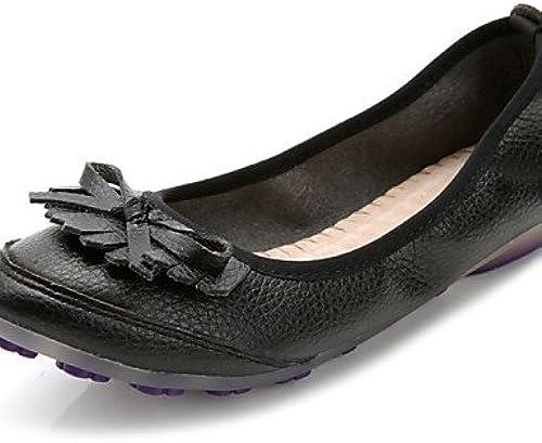 DFGBDFG PDX Chaussures femmes en similicuir Talon Plat Confort apparteHommests Bureau & carrière robe décontracté Noir, Us5.5 Eu36 Uk3.5 Cn35