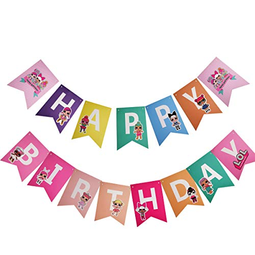 LOL Banner, Happy Birthday Banner, Multicolor Cake Decorations for Baby Theme Party