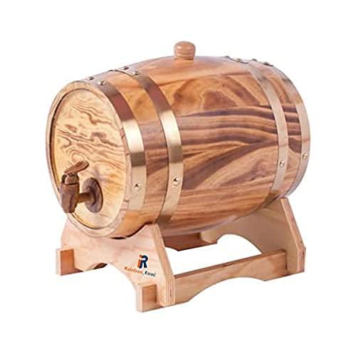 ROSG Dispensador de Barril de Whisky 3L Decantador de Barril de Vino de Roble de Madera para almacenar la Edad de Tus licores de Cerveza Whisky Rum Port Bourbon Tequila Licor (Chocolate)