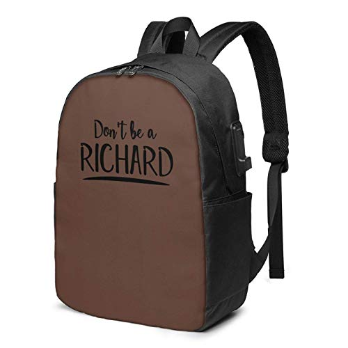 IUBBKI Bolsa para computadora mochila USB Don'T Be A Ri-Chard 17 Inch Laptop Backpack For Men & Women,Travel/School Backpack With Usb Charging Port & Headphone Interface