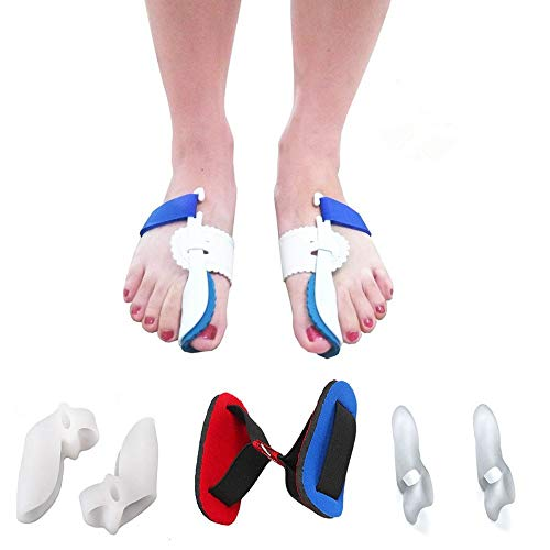 Bunion Corrector Adjustable Splint Night Time Soft Gel for Bunion Relief, Bunion Corrector and Bunion Relief Protector Brace Kit for Big Toes, Bunion Pads, Toe Straightener, Toe Separators