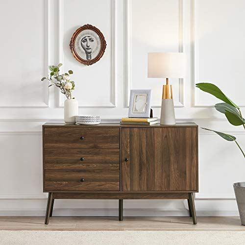 BELLEZE Mid Century Modern Sideboard Kitchen Buffet, TV Stand Entertainment Center Console with Drawers and Cabinet Storage for Living Room - Annett (Dark Walnut)