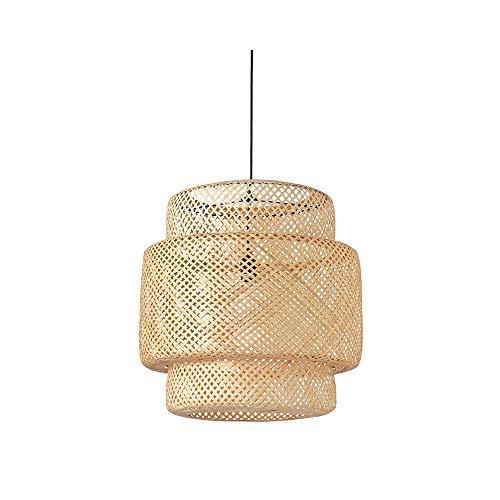 Qyyru Lámpara Colgante Japonesa rústica Bambú Mimbre Ratán Sombra Lámpara Colgante Mesa de Comedor Sala Tatami E27 Luz de Techo Clásico Vintage Chic Iluminación Creativa
