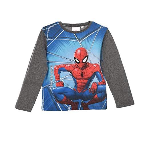 Spiderman Langarmshirt Jungen Marvel Ökotex Standard 100 (Weiß-Grau-Melange, 116)