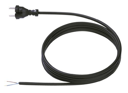 Bachmann 248.176 voedingskabel met contourstekker rubber 24G, aansluitkabel voor elektrisch gereedschap zwart, lengte 5,0m H07RN-F 2x1,50mm2,
