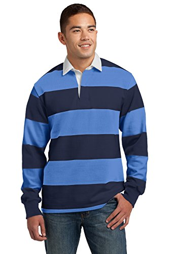Sport-Tek 174 Classic Long Sleeve Rugby Polo. ST301 X-Large True Navy/ Carolina Blue