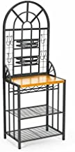 Dome Bakers Rack w/ Wine Bottle Storage - Adjustable Nesting Baskets - Metal Tube Frame