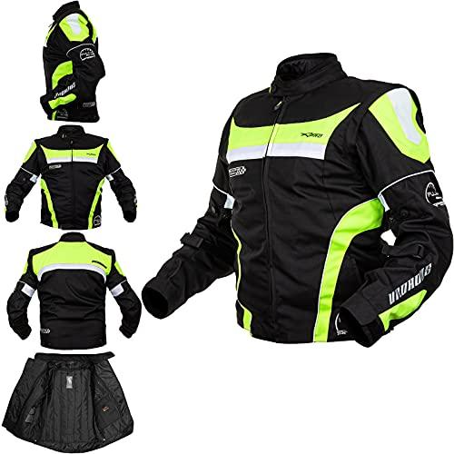 Giacca Moto Manica Staccabile Tessuto Protezioni CE Sfoderabile Gilet Fluo XL