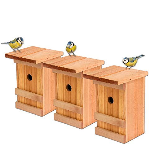 Nistkästen 3x Meisennistkasten Vogelhaus Meisen Vogelhäußchen Massivholz Vogelhaus 25,5 x 16 x 17 cm Einflugloch 28mm Nistkasten