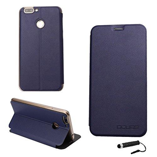 Ycloud Tasche für Oukitel U20 Plus Hülle, PU Ledertasche Metal Smartphone Flip Cover Hülle Handyhülle mit Stand Function Marineblau