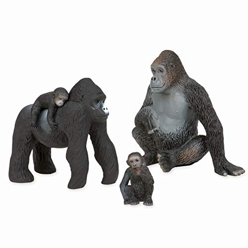 Terra by Battat – Gorilla Family – Small Plastic Gorilla Animal Toy Miniatures for Kids 3-Years-Old & Up (4 Pc)