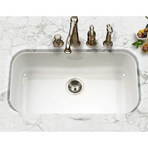 Houzer PCG-3600 WH Porcela Series Porcelain Enamel Steel Undermount Single Bowl Kitchen Sink, Large, White