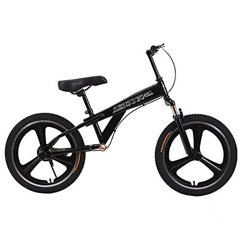 Bicicletas sin Pedales Sin Pedal Bicicleta de Equilibrio Deportiva con Freno, Neumáticos de Goma de 18 Pulgadas Bicicletas para Caminar para Adolescentes, Niños 9 10 12 14 15 Años ( Color : Black )