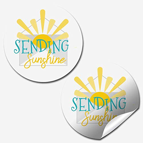 Bright Sending Sunshine Themed Thank You Customer Appreciation Sticker Labels for Small Businesses, 60 1.5' Circle Stickers by AmandaCreation, Great for Envelopes, Postcards, Direct Mail, & More!