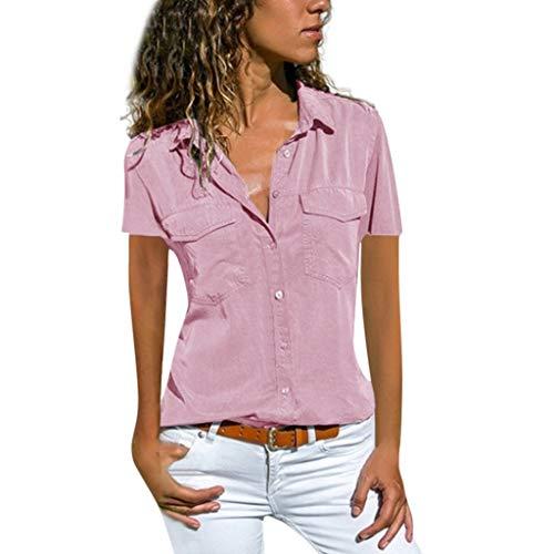 Damen Bluse Kurzarm Revers Kragen Hemdbluse V Ausschnitt Langarmshirts Blusen Einfarbig Business mit Knopfleiste Hemd Oberteile Elegant Herbst und Mode Sommer T-Shirt Top mit Taschen
