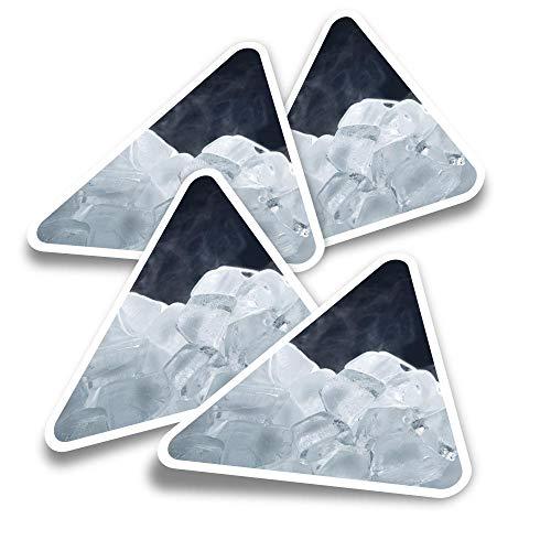 Pegatinas triangulares de vinilo (juego de 4) – congelación de cubitos de hielo congelados divertidos calcomanías para portátiles, tabletas, equipaje, reserva de chatarra, nevera #3824