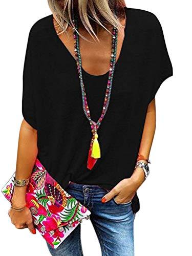 Minetom Damen Sommer Kurzarm Blusen T-Shirt V-Ausschnitte Loose Oversize Shirt Oberteile Chic Top Schwarz DE 38