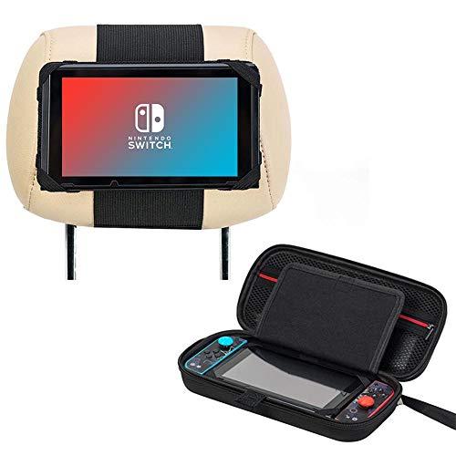 3 in 1 Zubehör für Nintendo Switch, Nintendo Switch Tasche + Auto Kopfstützen Halterung + Kompakter PlayStand