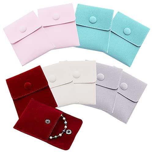 10 bolsas de terciopelo de 9,5 x 7,5 cm con cierre de presión