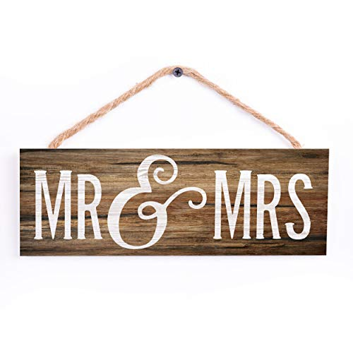 P. Graham Dunn Mr. and Mrs. Wood Grain Brown 10 x 3.4 Pine Wood String Sign