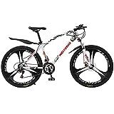 MENG Frenos de Acero Al Carbono de la Bicicleta de Montaña para Jóvenes/Adultos, Frenos de Disco, Ruedas de 26 Pulgadas, 21/24/27-Velocidad (Tamaño: 21 Velocidad, Color: Rojo)/Blanco/24 Velocidad