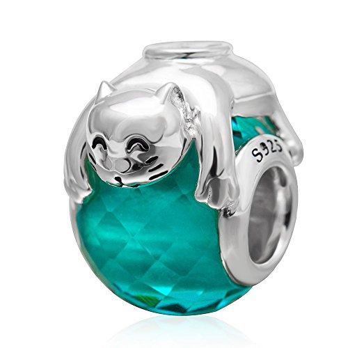 Soulbeads Jewelry Lovely Animal Vetro ciondoli in Argento Sterling 925con Perline per Braccialetti Pandora, Base, Colore: Cat, cod. SB