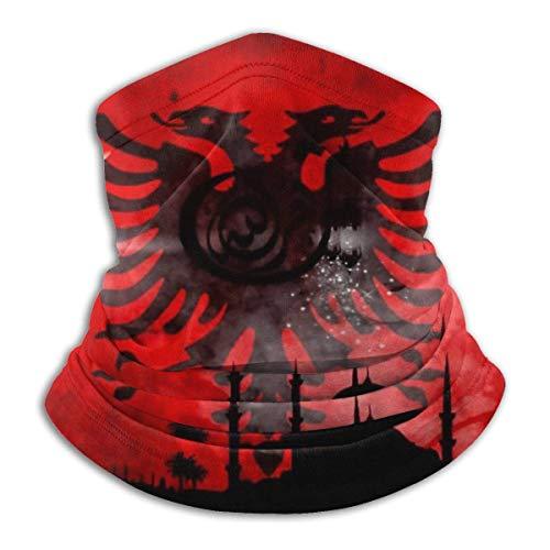 BK Creativity Magic Headbands,Albania Flag Red Black 12-In 1 Bandana, Polainas De Cuello A Prueba De Rayos UV,26x30cm