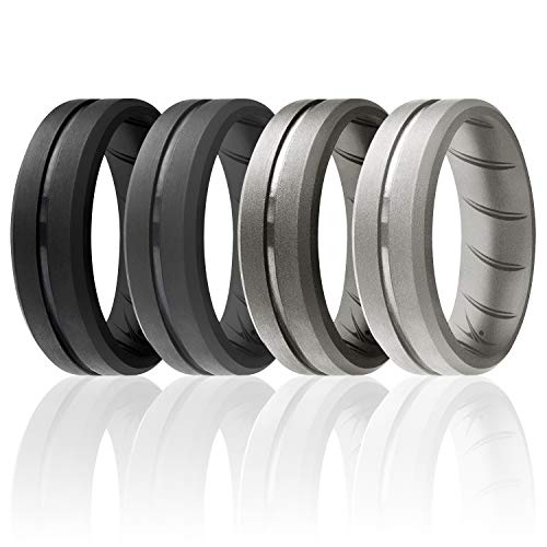 ROQ Silicone Rings, Breathable Silicone Rubber Wedding Ring Band for Men with Comfort-Fit Design, 8mm Engraved Middle Line, 4 Pack, Silicone Wedding Ring - Black, Grey, Silver Colors - Size 8