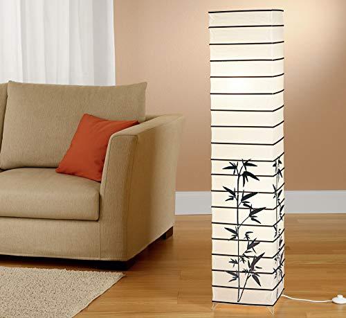 Trango 1212 Design Stehlampe *JAPAN* Reispapierlampe *HANDMADE* in weiß mit Deko-Stäben & Bambus- Motiv I inkl. 2x E14 Fassung I Form: eckig I Höhe: ca. 123cm I Wohnraumlampe I Stehleuchte