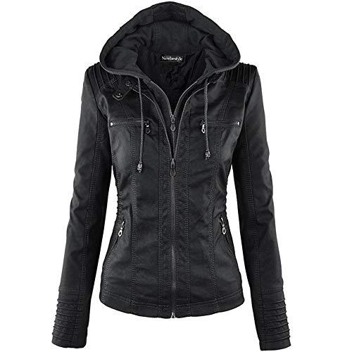 Newbestyle Women's Spring And Autumn Hooded Faux Leather Jacket Hat Detachable Zipper Jacket Motorcyle Jacket Black
